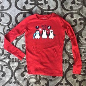 Girls Lands end penguin pj shirt size 12